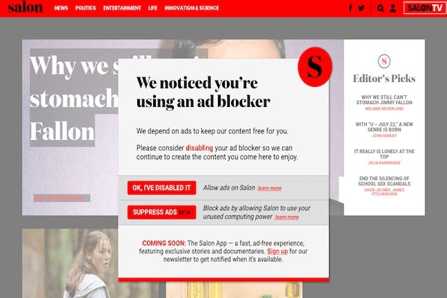 Use ad blockers? Mine some Monero to get access to news