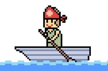 vector pixel art - man in a boat paddling with an oar