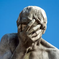 Caïn, a sculpture by Henry Vidal, epic facepalm