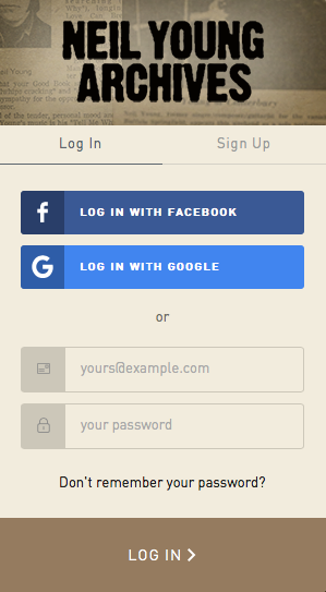 Neil Young's compulsory signup page