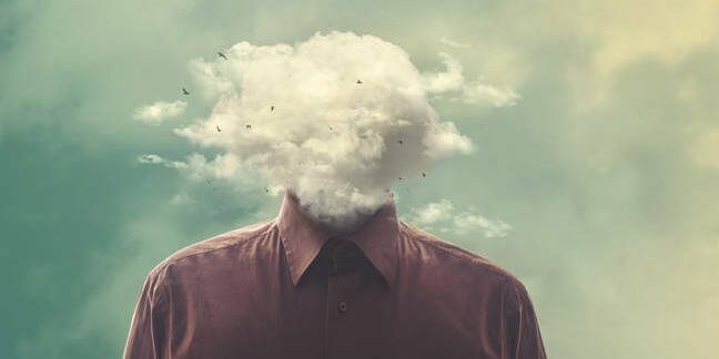 Man with his head in the clouds