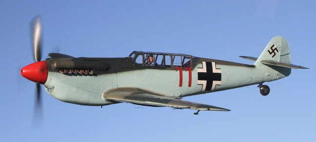 Buchon G-AWHC against the sky, left view. Pic: Air Leasing Ltd via Platinum Fighter Sales