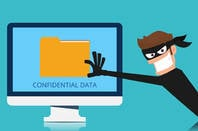 Cartoon of someone stealing information from a Mac