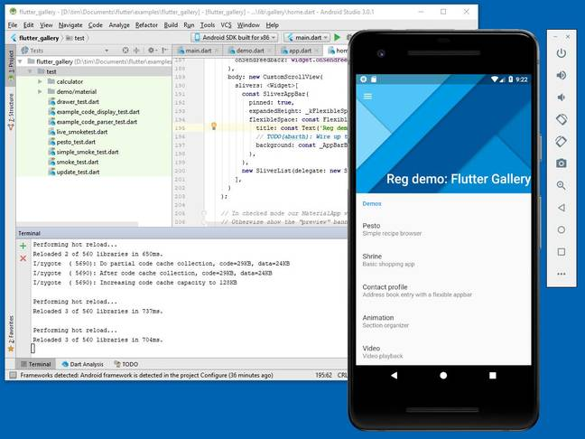 Developing a Flutter app with Android Studio.