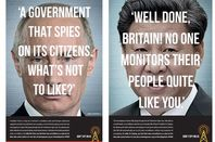 Two ads featuring Putin and Xi praising UK for mass surveillance