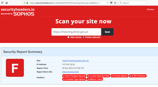 DVLA site securityheaders audit