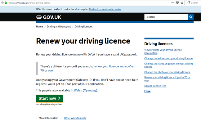 Driving licence renewal site through gov gateway