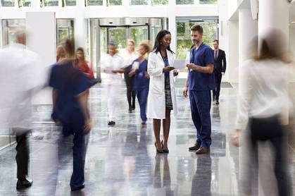 Doctors in a busy hospital