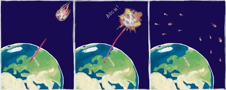 Cartoon strip of asteroid being blasted with laser