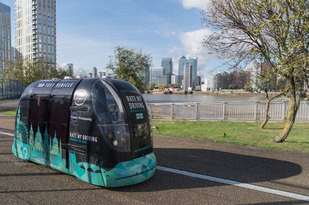 One of the Greenwich Gateway trial's pods, parked up on the path. Pic: Gateway Consortium