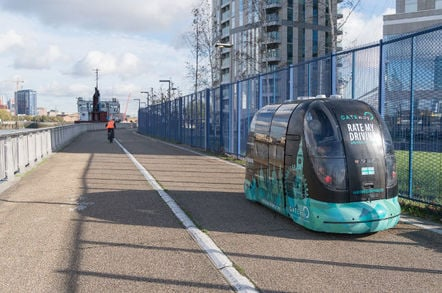 A Greenwich Gateway Level 4 driverless pod, seen on Olympian Way, Greenwich. Pic: Gateway Consortium