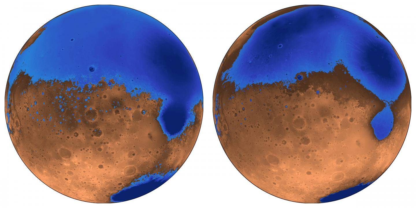 Volcanoes On Mars Supported Ancient Oceans Which Were Shallower Than Previously Thought