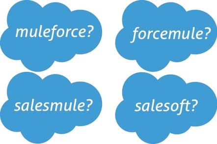Salesforce Mulesoft acquisition logo mashup fun