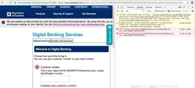 RBS digital cert warning in Google Chrome console