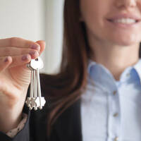 Woman holding keys