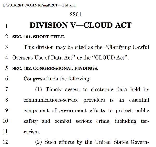 Screenshot of the CLOUD Act in the spending bill