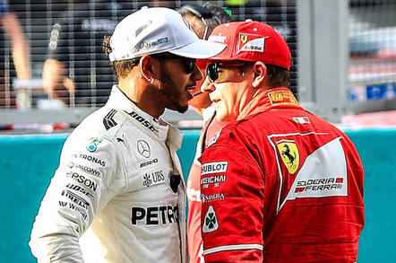 Lewis Hamilton, left, and Kimi Raikkonen