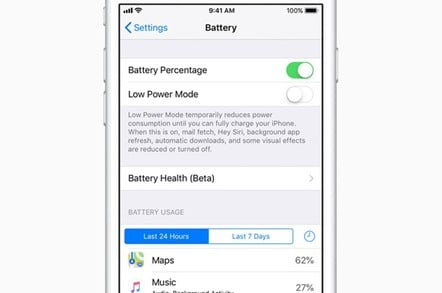Apple iOS 11.3 battery app image