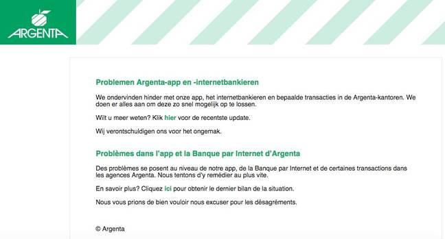 Belgian bank Argenta still struggling to restore online banking
