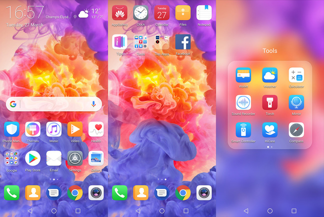 Huawei P20 Pro default home screens