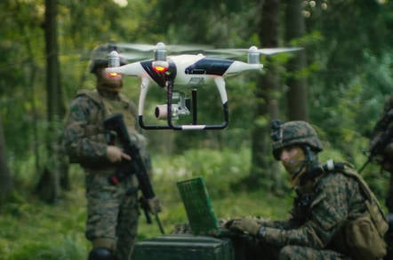 Military drone in use