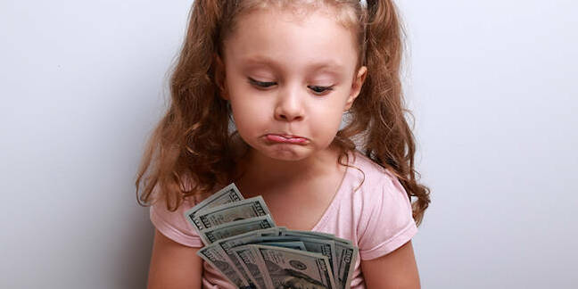 A child unhappy with her cash stash
