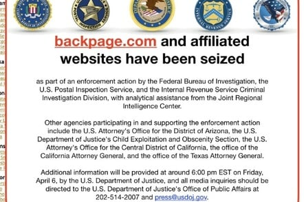 Screengrab of the Backpage takedown notice