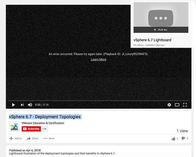 vSphere 6.7's vanishing videos