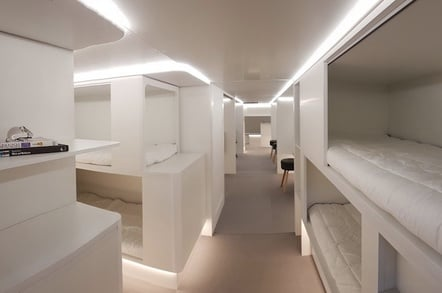 A mockup of Airbus' beds-in-planes-cargo-holds concept