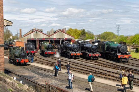 A panorama of the Didcot Rail Centre yard, and a lineup of GWR locomotives, including 0-4-0ST No. 1338 near the coaling stage, during the railways Steam Gala.
