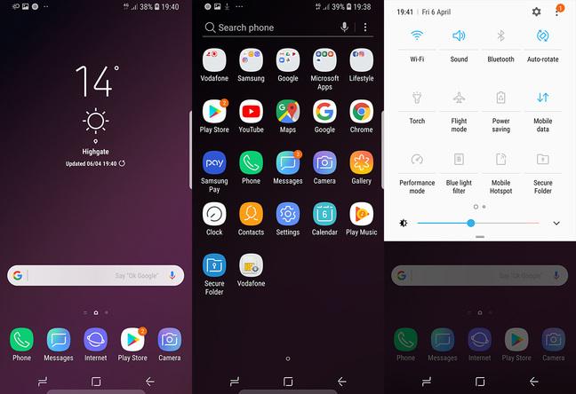 Samsung Galaxy S9 main screens