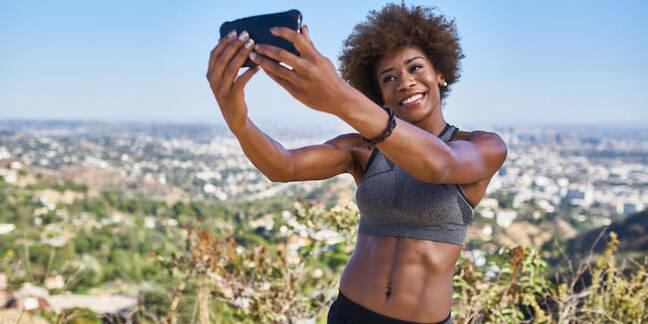 Someone taking a selfie outside LA