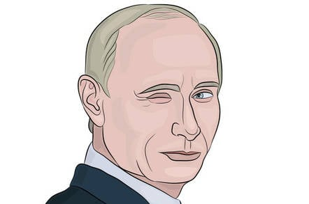 illustration showing russian president vladimir putin winking