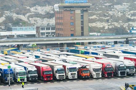 Trucks queue at the port of Dover.