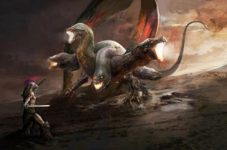 Hercules battles the many-headed Hydra