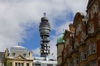 BT tower against backdrop of london terraced houses