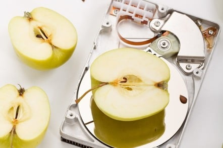 image of Apple and hard drive