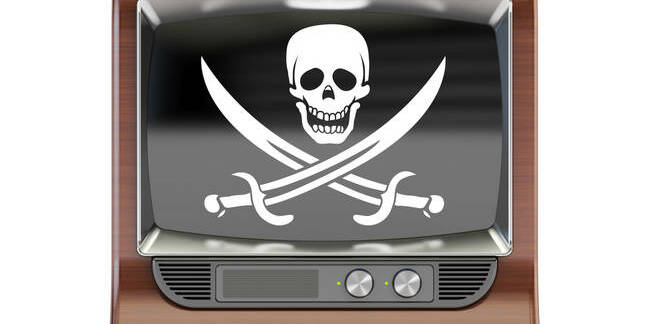 TV set with pirate flag isolated on white background