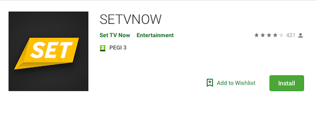 Set TV Now Android app in Google Play Store