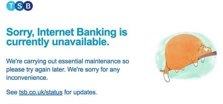 TSB online banking down page