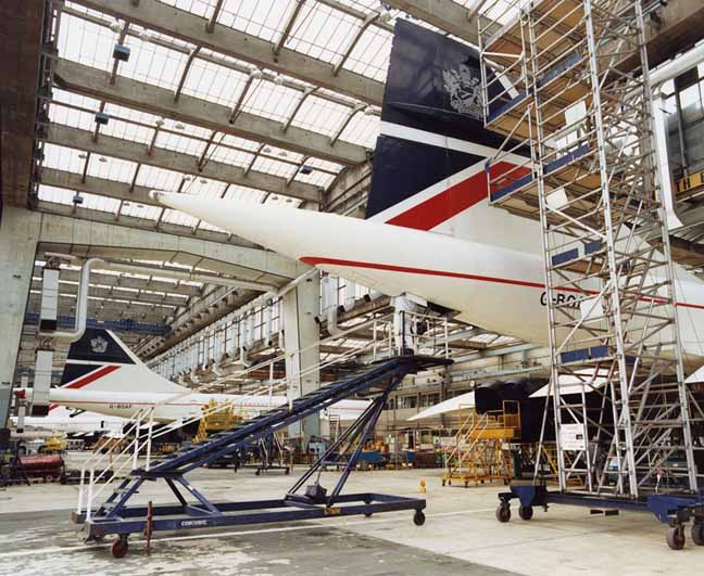 Concordes in BA hanger photo British Airways