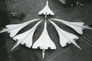 Six parked concordes photo British Airways