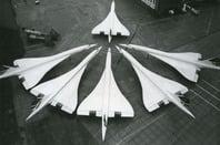 Six parked concordes photo British Airways