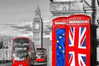 Big Ben against background of phoneboxes adorned with union jacks and eu flags