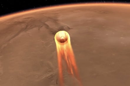 NASA depiction of Mars InSight entering the Martian atmosphere. Image: NASA