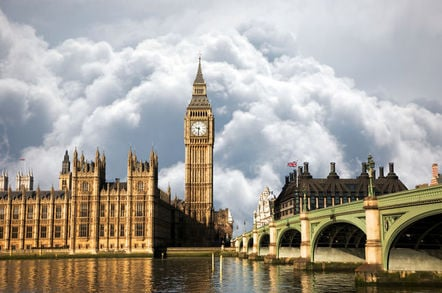 Scene of Big Ben and Palace of Westminster seen from South Bank, Dramatic cloudy Sky in the background.