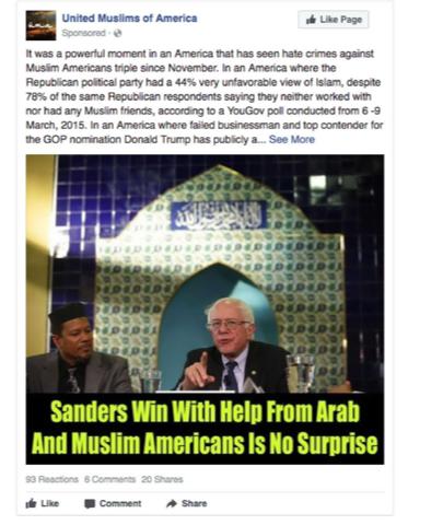 Facebook Russian Ad: Bernie