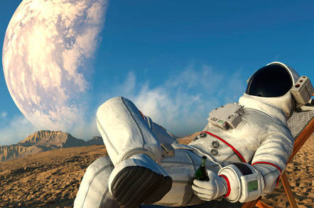 Astronaut enjoying a beer