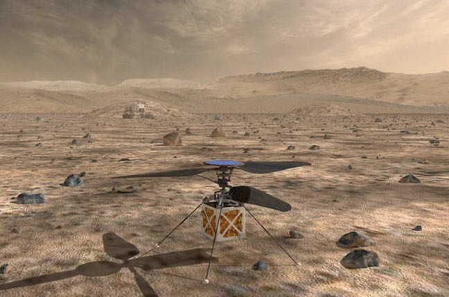 NASA illustration of the helicopter for the Mars 2020 mission
