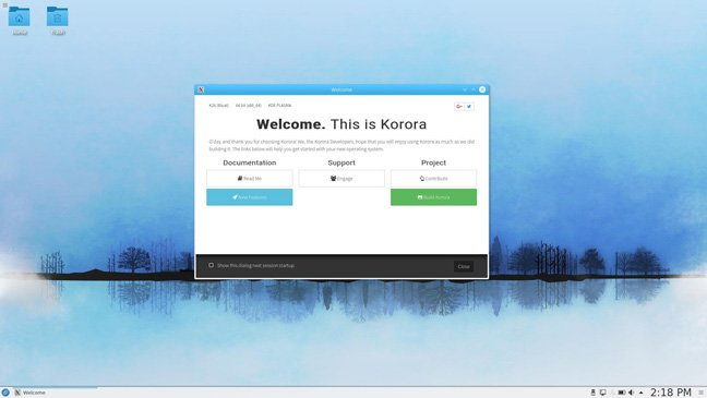Korora screenshot
